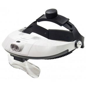 LightHead MG81001-G Náhlavní lupa s ochrannými zvětšovacími skly 1,2 x, 1,8 x 2,5 x 3,5 x + LED světlo