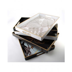 AFFEK DESIGN MX6803 Servírovací podnos se zlatým lemem a barevnými listy, 40x26x3,5 cm, černý