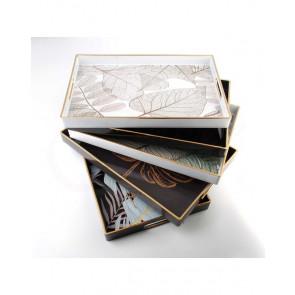 AFFEK DESIGN MX6773 Servírovací podnos se zlatým lemem, 40x26x3,5 cm, černý