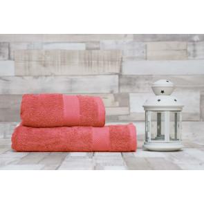 TFY Wellness-C12-Red2 Sada bavlněných osušek s ručníky, 2ks, 55 x 100 cm, 70 x 140 cm, světle červená