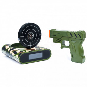 GunAlarmClock BF1821 Elektronický budík laserová zbraň se štítem, maskáčový