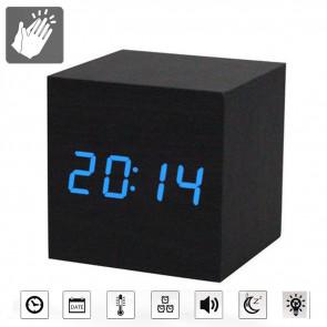Budík drevená kocka s reakciou na tlesknutie, hodiny na tlesknutie, budík, hodinky, hodiny, budíky, digitálne hodiny, stolové hodiny