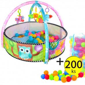 MALATEC 5639 Dětská ohrádka a podložka s hrazdou a s míčky, 200ks
