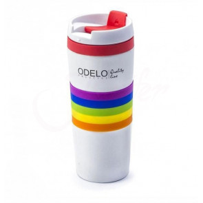 ODELO OD1220 Termohrnek, bílý s proužky, 0,380L,