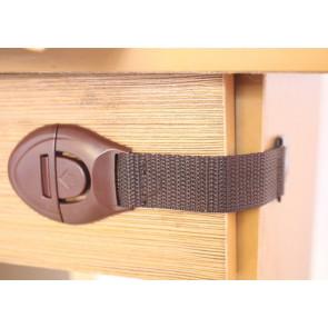 TFY 100.7908 Bezpečnostní zábrana na skříně a zásuvky 10 ks, 21,5 x 2,5 x 5 cm, hnědá