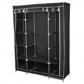 TFY No.28135-BLK, Skládací textilní skříň, šatník, černý, 175cm x 135cm x 45cm