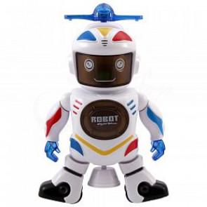 Robot tanečník s vrtuľou, rotácia 360°, svetelné a zvukové efekty, tancujúci robot, robot so zvukom a svetlom, otáčajúci robot