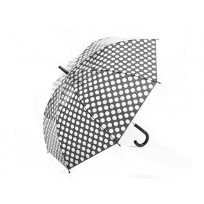 Youzont ART 018 Transparentný dáždnik, bodkovaný, poloautomatický, 80cm, sivý
